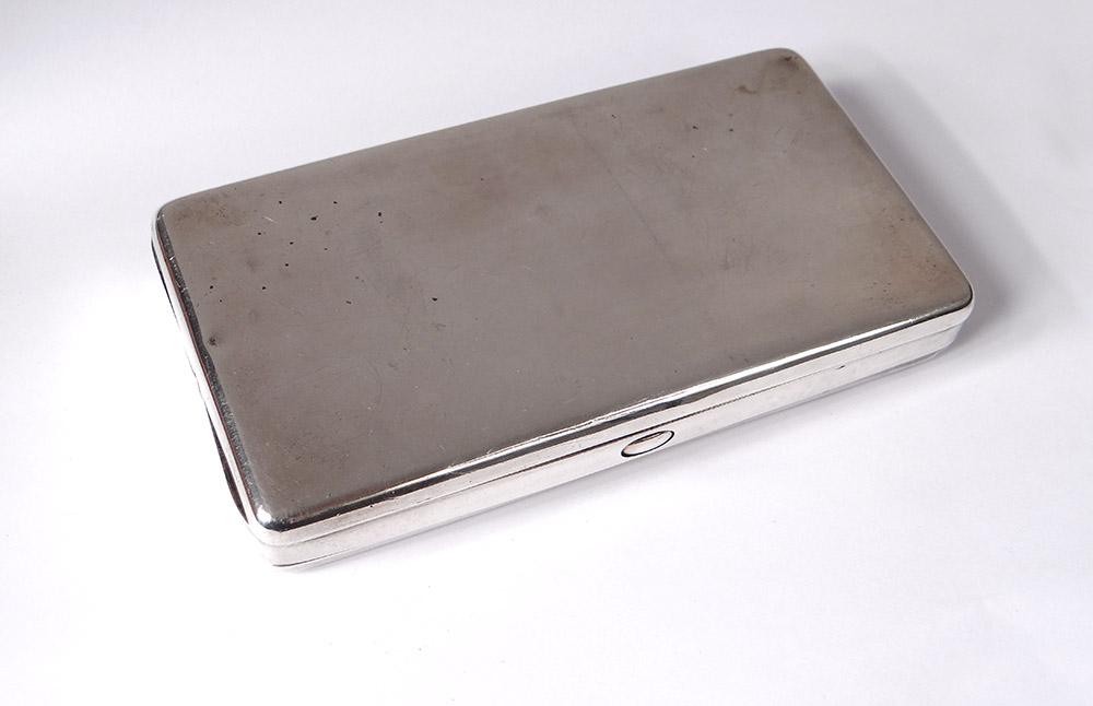 Case English Cigarette Box Silver London Cohen & Charles Silver Twentieth