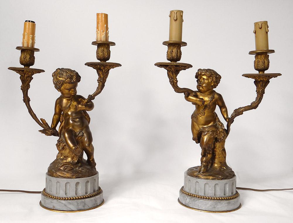 Paire Candélabres 2 Feux Bronze Marbre Enfants Faunes Satyres Clodion XIXè