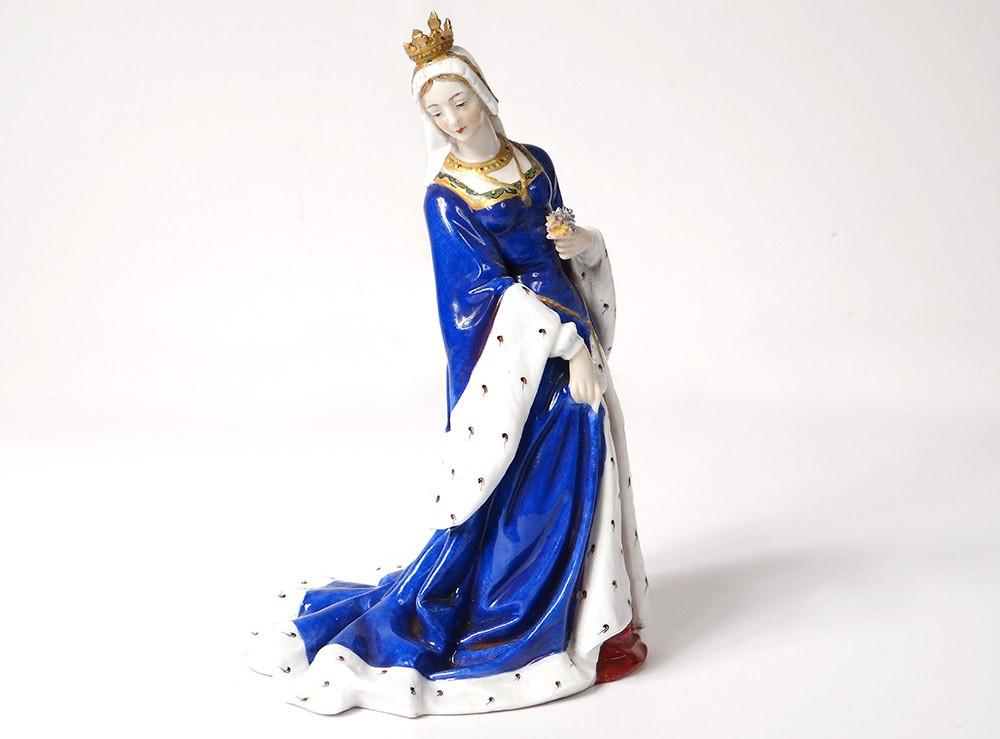 Statuette Porcelaine Allemande Passau Bavière Reine Moyen-age Couronne XIXè