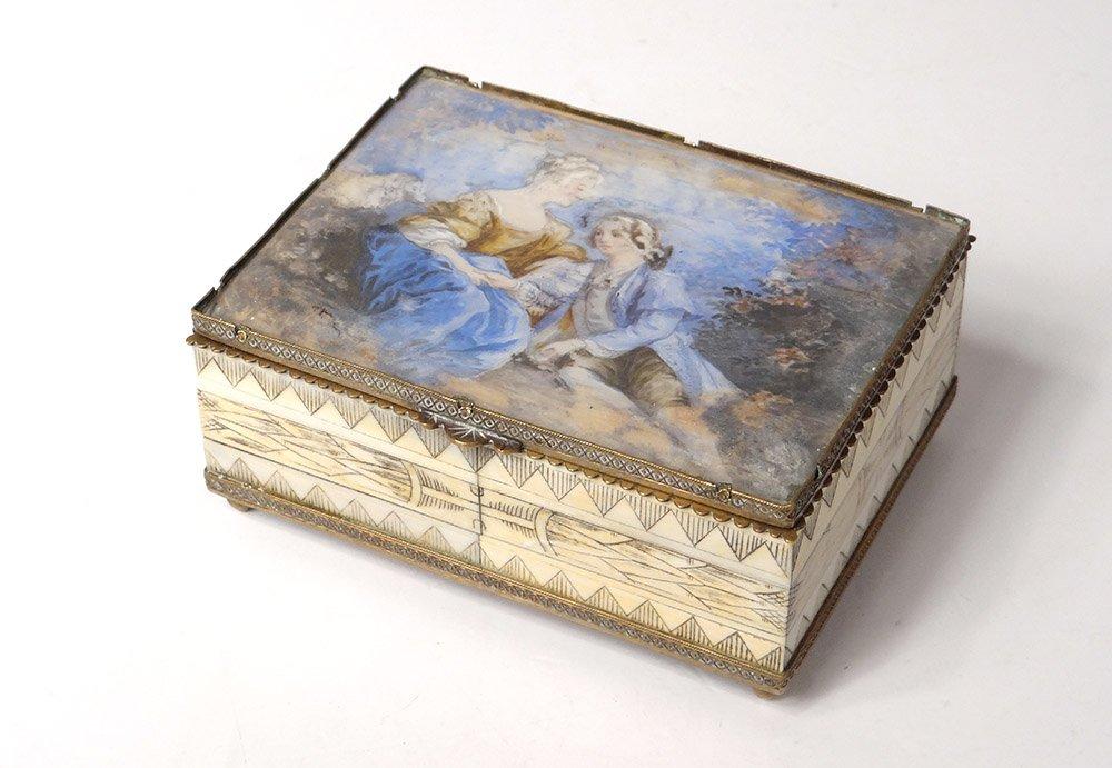 Painted Box Painted Miniature Scene Galante Couple Ivory Wood XIXth Century