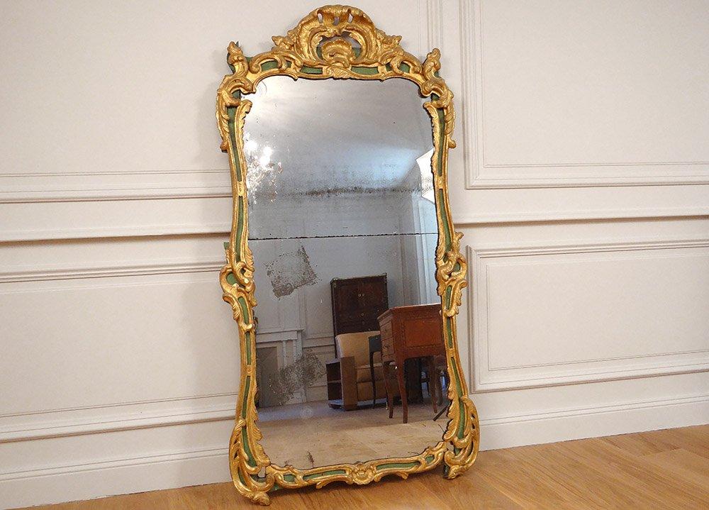 Grand Miroir Régence Bois Sculpté Doré Polychrome Coquilles Glace XVIIIème