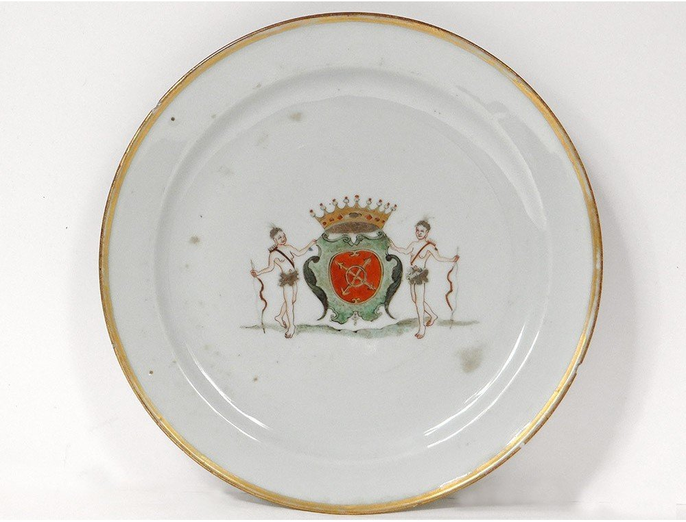 Porcelain Plate India Company Coat Of Arms Brittany Kersabiec Kangxi 18th
