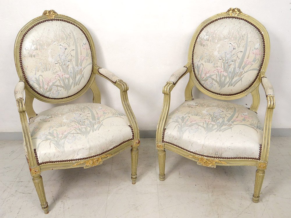 Pair Louis XVI Armchairs In The Queen Dossier Medallion Lacquered Wood XVIII