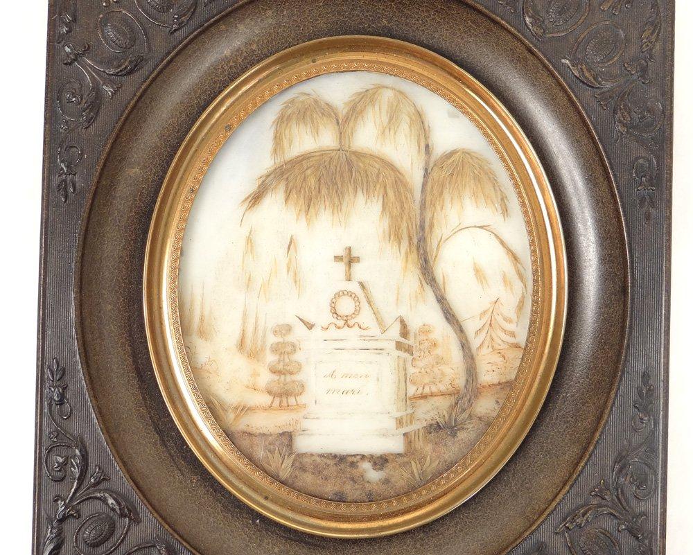 Miniature Travail de Cheveux Monument Funéraire Croix Souvenir XIXè Siècle-photo-2