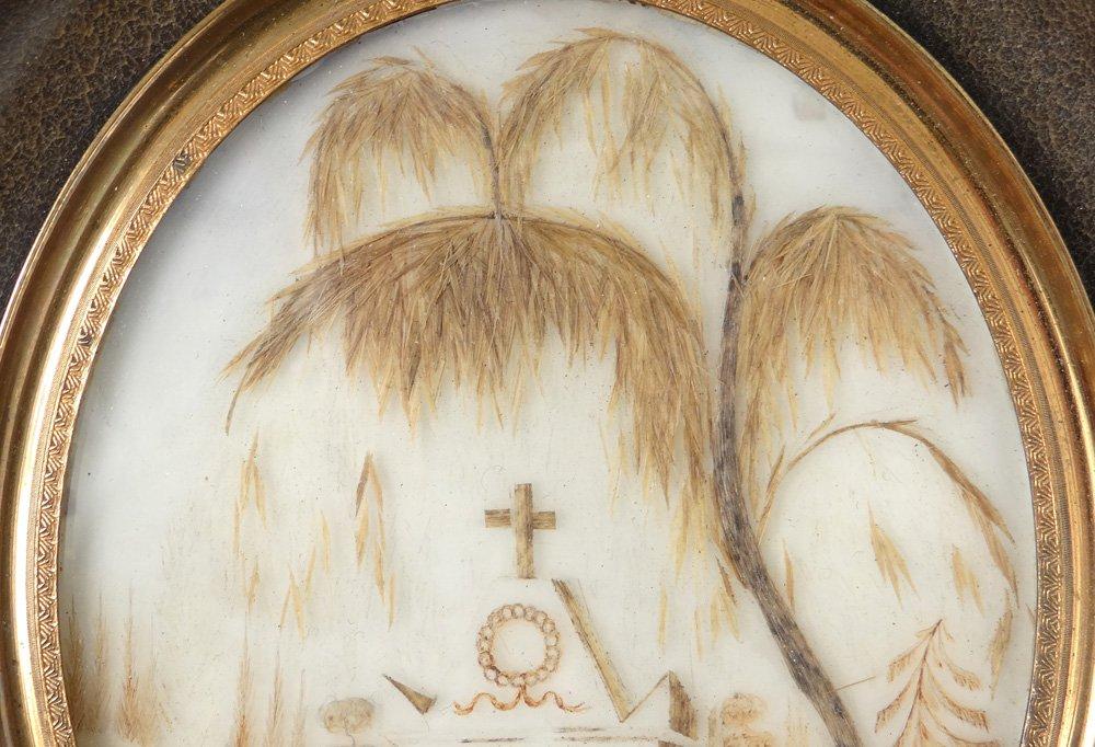 Miniature Travail de Cheveux Monument Funéraire Croix Souvenir XIXè Siècle-photo-4
