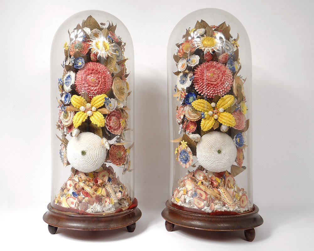 Pair Big Bridal Bouquets Seashells Flowers Globe Nacre Nineteenth Century
