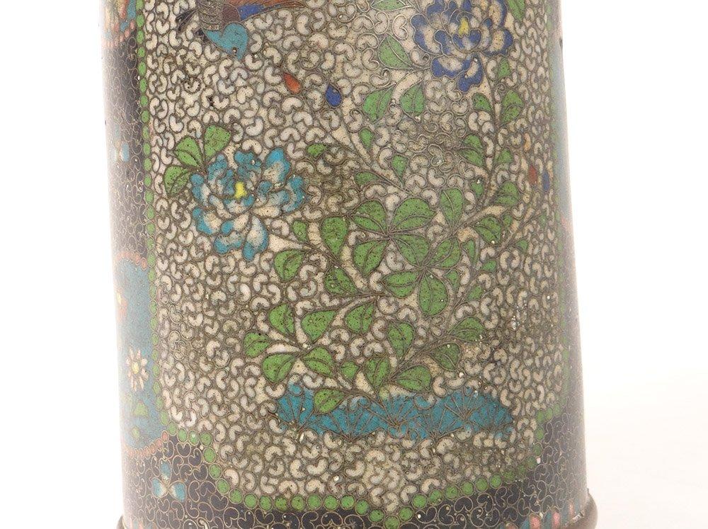 Vase Rouleau Cloisonné Sur Porcelaine Chubei Totai Shippo Japon Meiji XIXè-photo-3