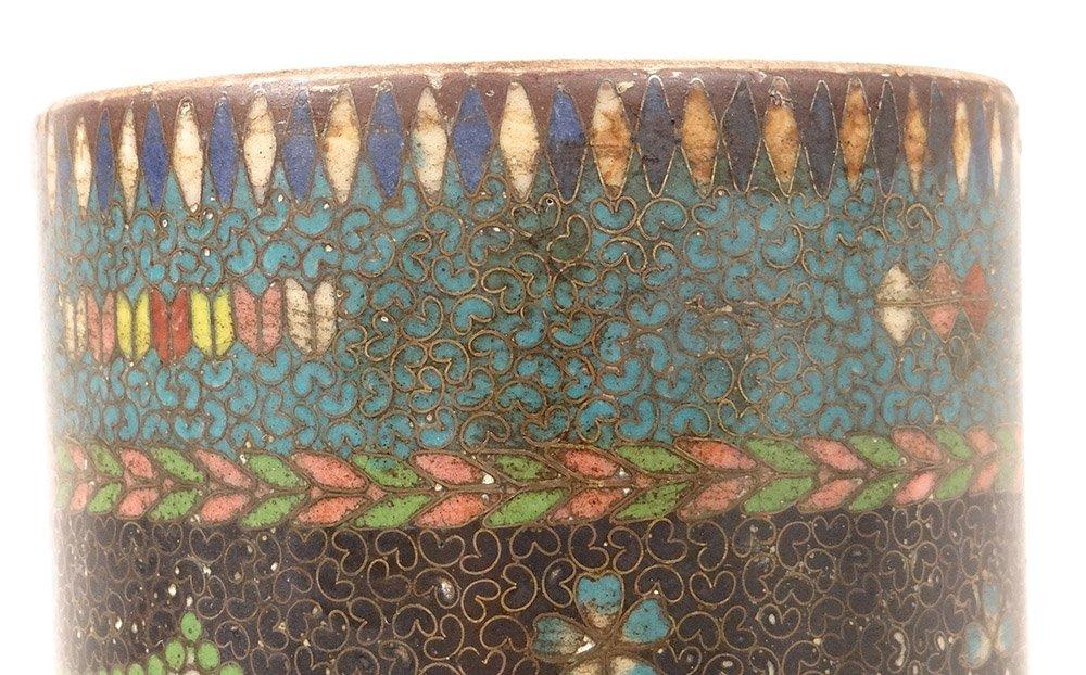 Vase Rouleau Cloisonné Sur Porcelaine Chubei Totai Shippo Japon Meiji XIXè-photo-6