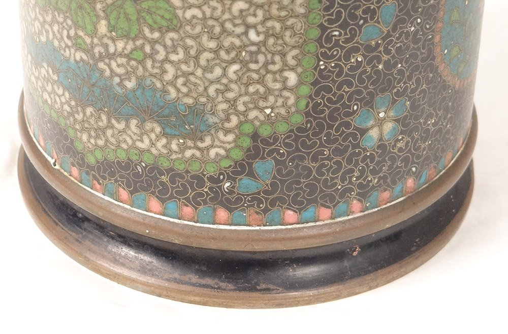 Vase Rouleau Cloisonné Sur Porcelaine Chubei Totai Shippo Japon Meiji XIXè-photo-7