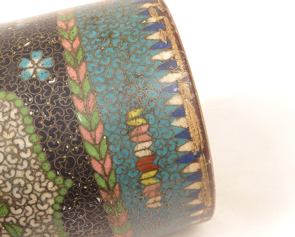 Vase Rouleau Cloisonné Sur Porcelaine Chubei Totai Shippo Japon Meiji XIXè-photo-8