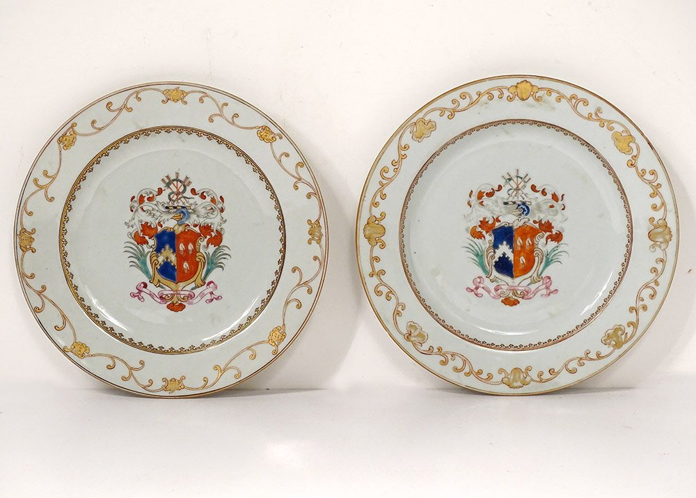 Pair Porcelain Dishes Compagnie Des Indes Coat Of Arms Coat Of Arms Knight 18th