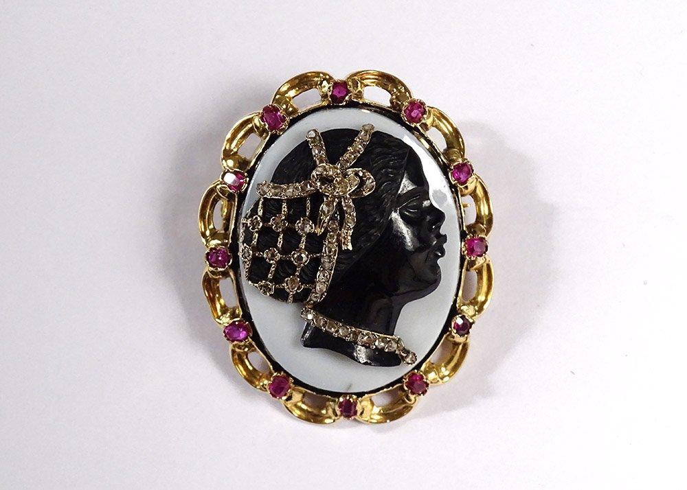 Broche Pendentif Camée Négresse Onyx Or Massif 18K Diamants Rubis XIXème