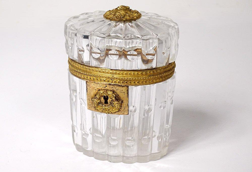 Coffret Boîte Ovale Charles X Cristal Taillé Laiton Doré Fleurs XIXè Siècle