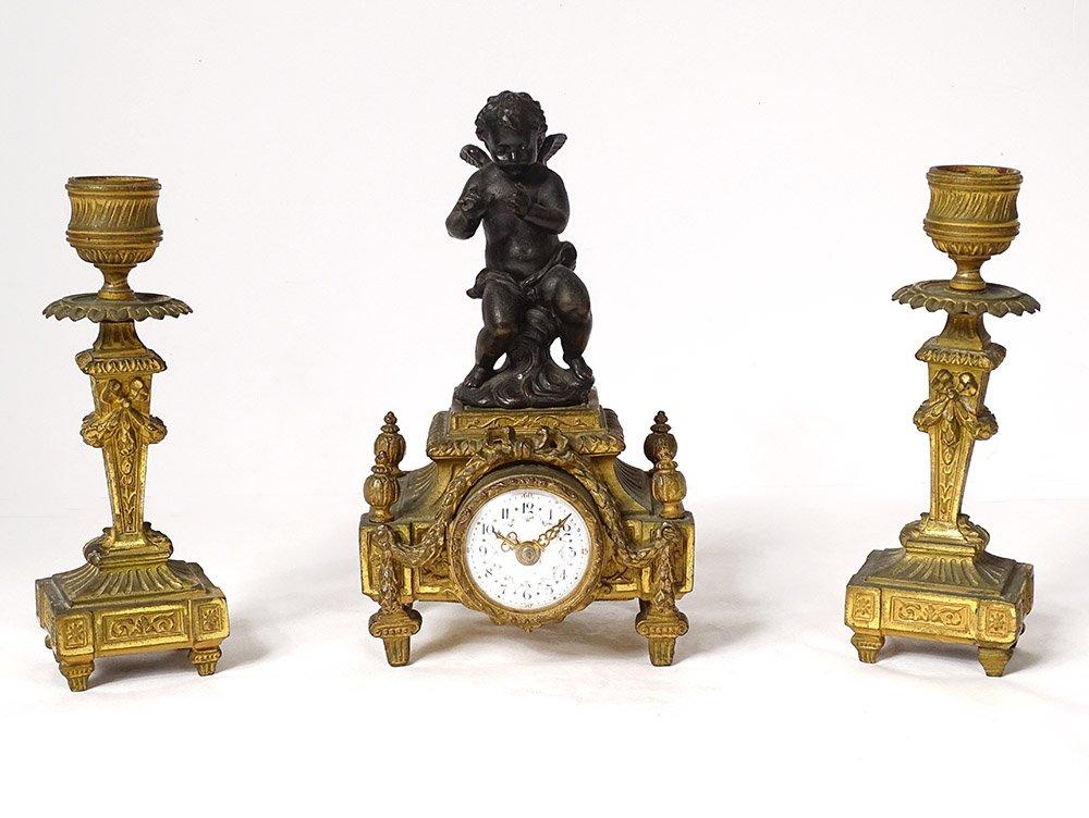 Small Clock Candlesticks Gilt Bronze Cherub Flowers Knot XIXth