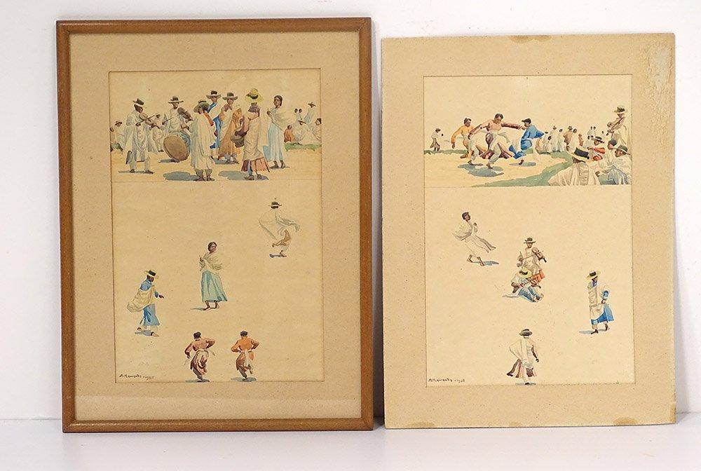2 Albert Ramanda Watercolors Malagasy Dance Characters Madagascar XXth