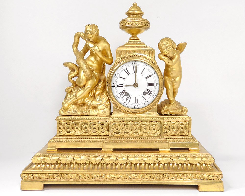 Golden Wood Pendulum Hygie Goddess Serpent Angelot Eros Cupid Clock XVIIIth