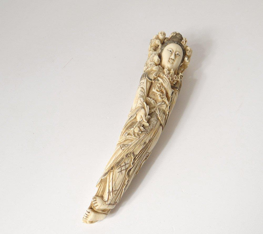 Okimono Statuette Ivoire Sculpté Femme Fleurs Japon XIXème