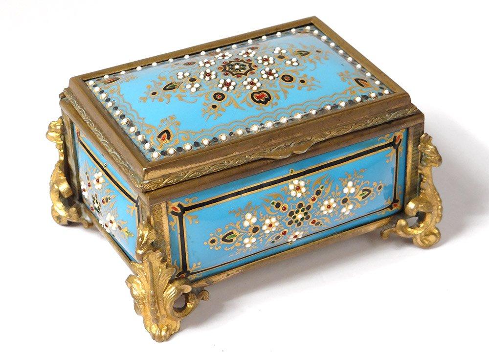 Petit Coffret Boîte émaux Bressans Perles Bronze Fleurs Napoléon III XIXème