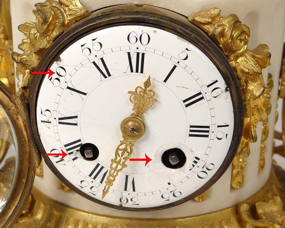 Pendule Bronze Doré Marbre Blanc Amours Cupidon Carquois Romantique XIXème-photo-4