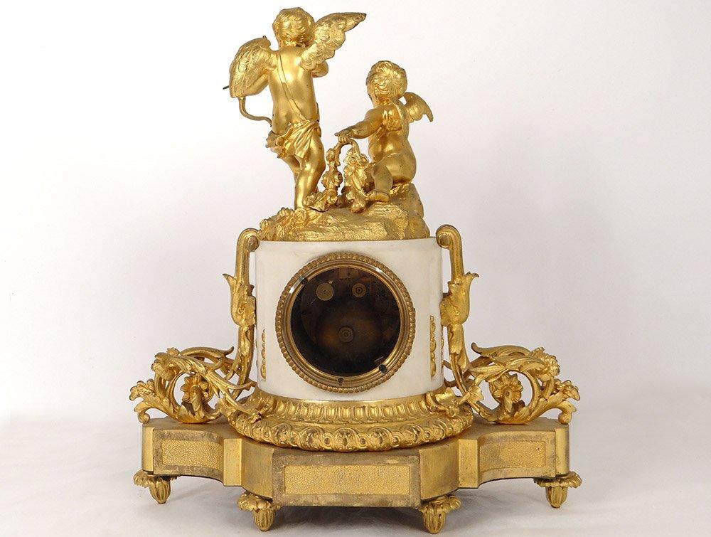 Pendule Bronze Doré Marbre Blanc Amours Cupidon Carquois Romantique XIXème-photo-6