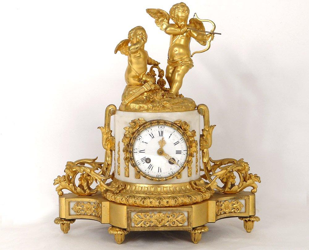 Pendule Bronze Doré Marbre Blanc Amours Cupidon Carquois Romantique XIXème