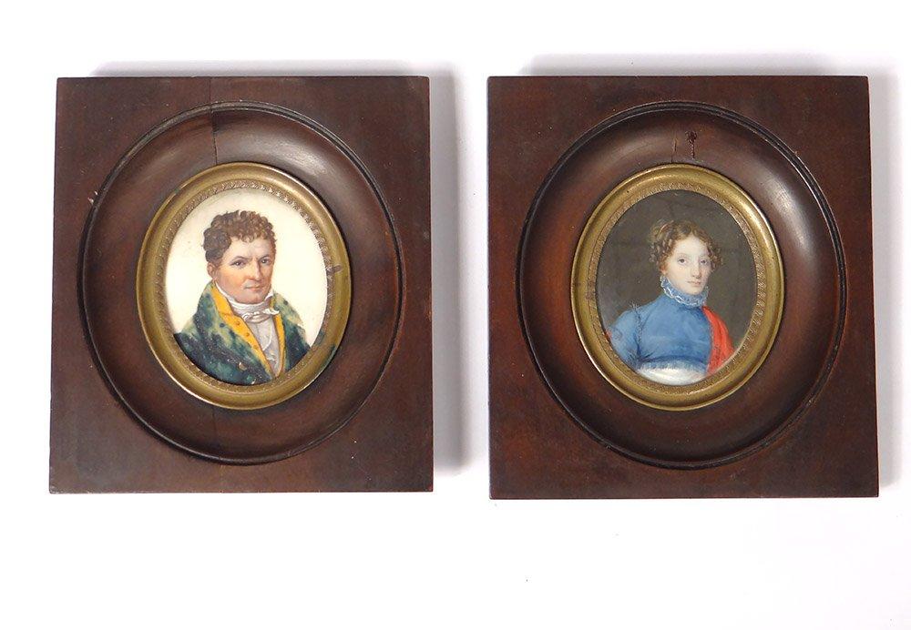 Paire Miniatures Portraits Couple Notable Femme Directoire Empire 18è 19è