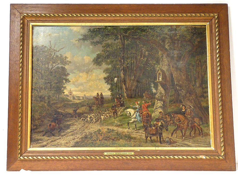 Large Hst Table M. Kuytenbrouwer Scene Hunting Hunting Forest 1888 XIX