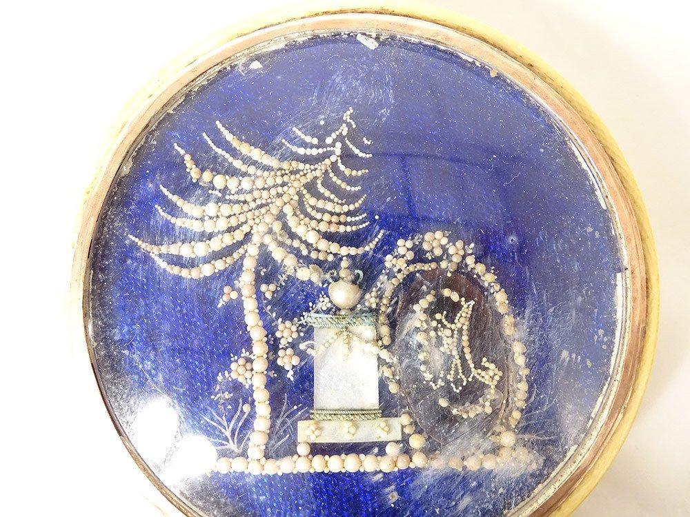 Boite Ivoire écailles Monogramme Décor Perles époque XIXème-photo-4