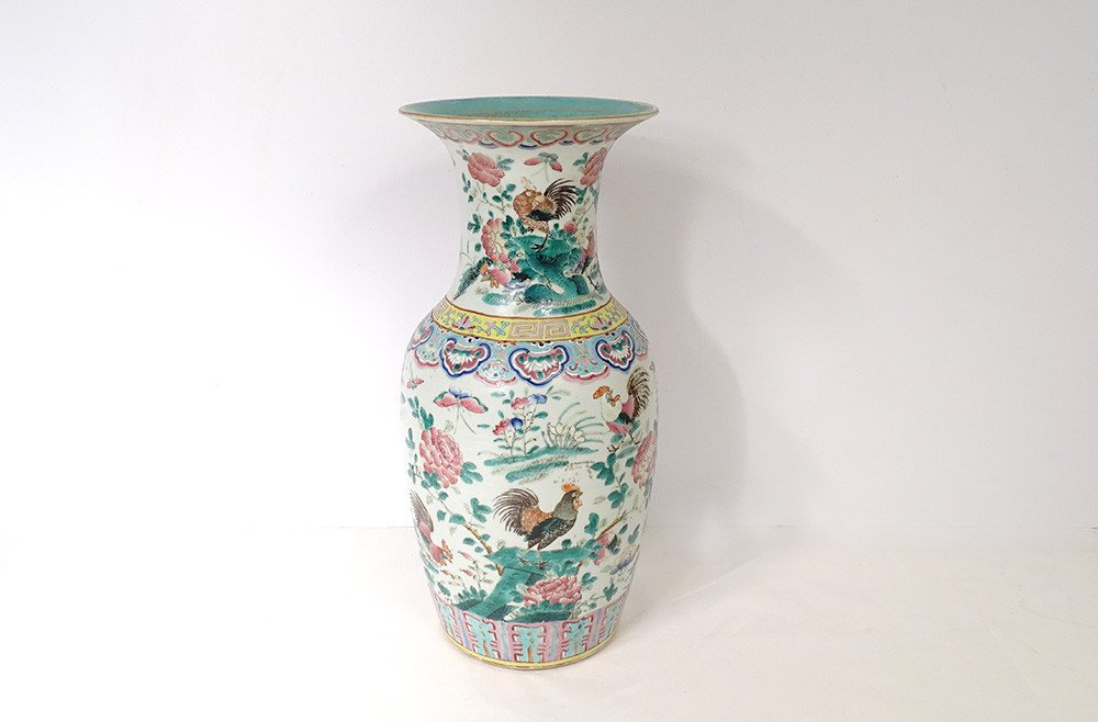 Large Chinese Porcelain Baluster Vase Butterfly Flowers China Rooster 19th