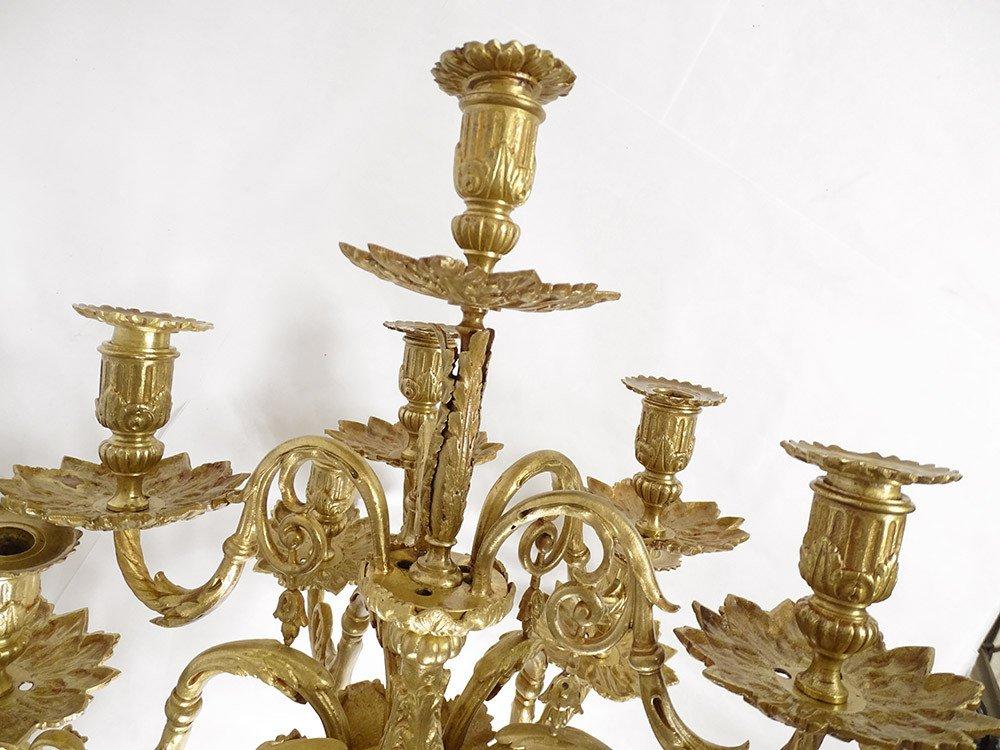 Grande Paire Appliques Louis XVI 10 Feux Bronze Doré Colonnes XIXème-photo-4