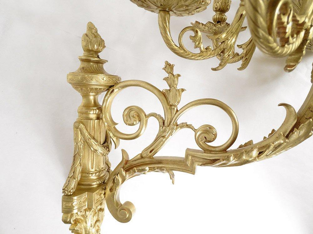 Grande Paire Appliques Louis XVI 10 Feux Bronze Doré Colonnes XIXème-photo-5