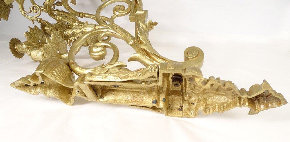 Grande Paire Appliques Louis XVI 10 Feux Bronze Doré Colonnes XIXème-photo-7