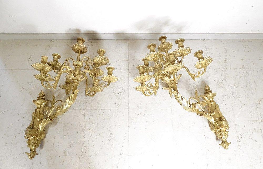 Grande Paire Appliques Louis XVI 10 Feux Bronze Doré Colonnes XIXème