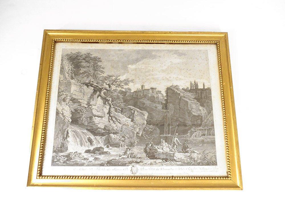 Engraving Golden Wood Frame Soldier River Pierre Charles De Villette Nineteenth