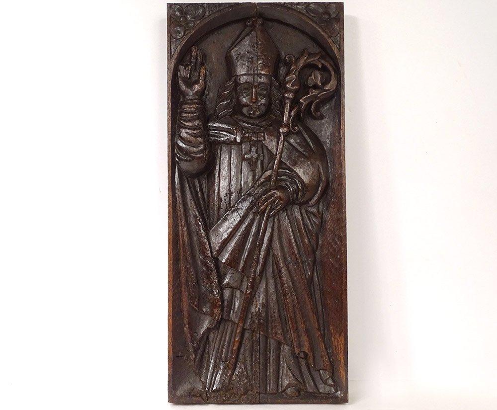 Decorative Panel Haute Epoque Carved Wood Bishop Crosse Miter XVII