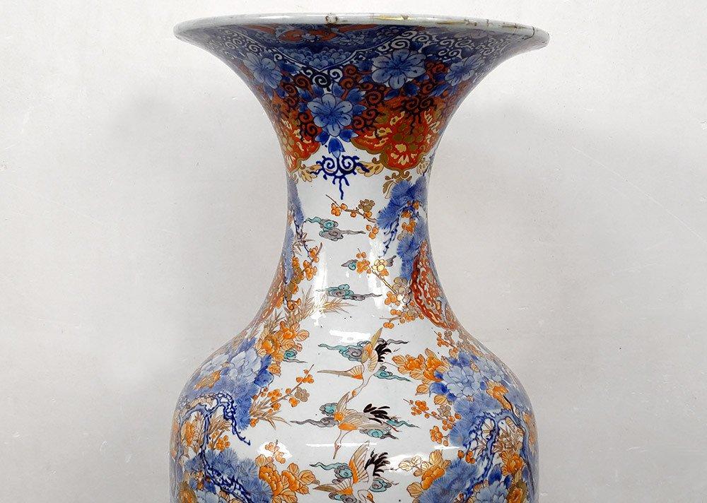 Grand Vase Porcelaine Imari Japon Paysages Hérons étang Fleurs 127cm XIXème-photo-2