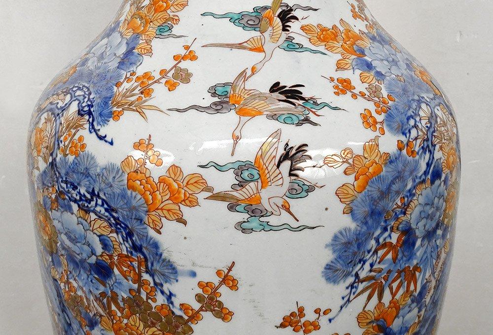 Grand Vase Porcelaine Imari Japon Paysages Hérons étang Fleurs 127cm XIXème-photo-4
