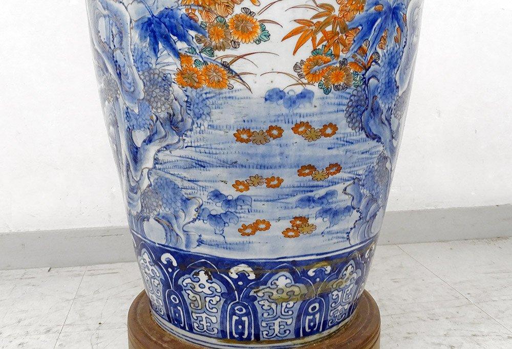 Grand Vase Porcelaine Imari Japon Paysages Hérons étang Fleurs 127cm XIXème-photo-1