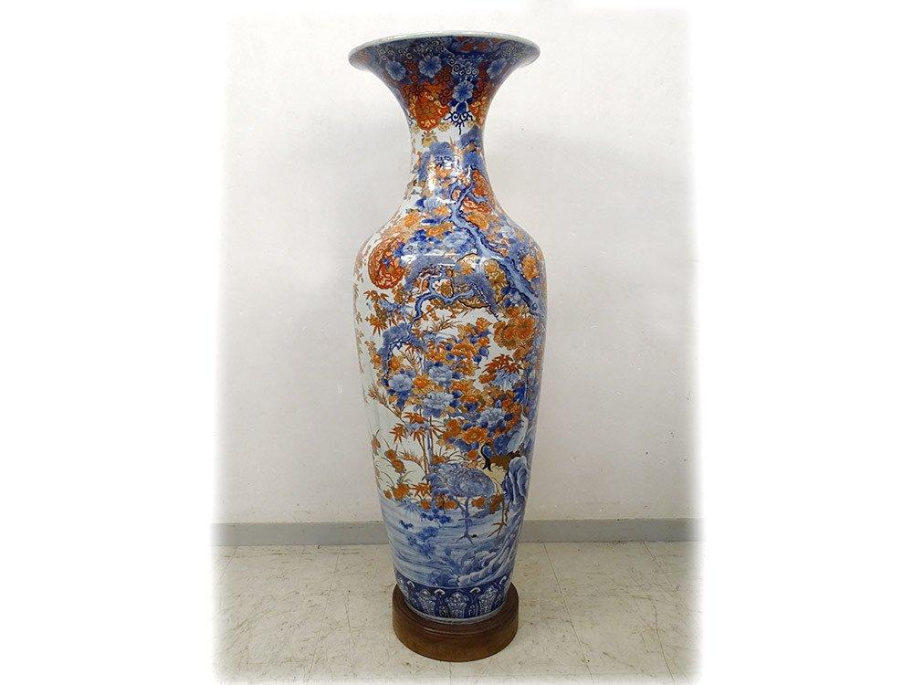 Grand Vase Porcelaine Imari Japon Paysages Hérons étang Fleurs 127cm XIXème-photo-3