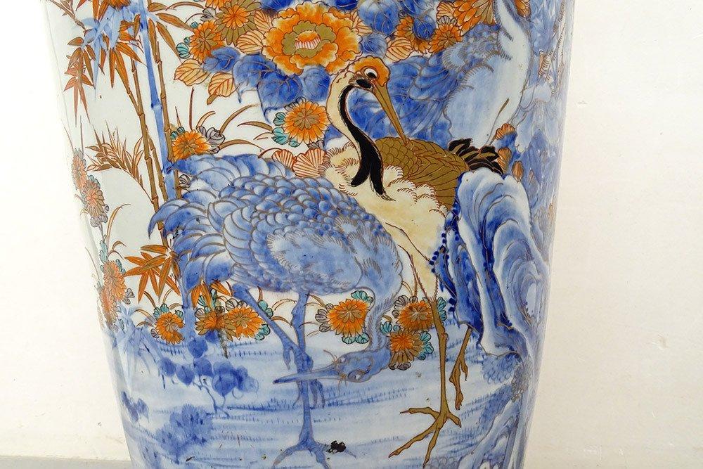 Grand Vase Porcelaine Imari Japon Paysages Hérons étang Fleurs 127cm XIXème-photo-5