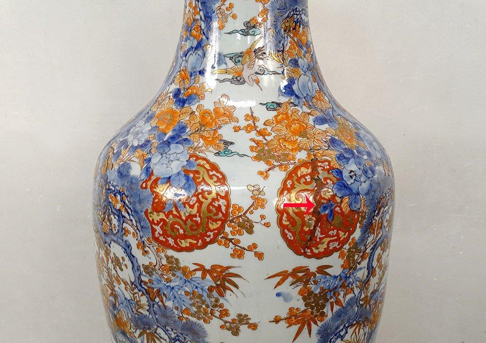 Grand Vase Porcelaine Imari Japon Paysages Hérons étang Fleurs 127cm XIXème-photo-6