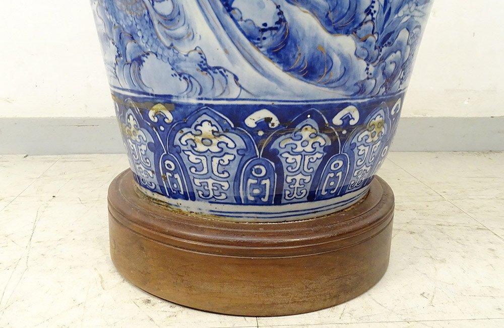 Grand Vase Porcelaine Imari Japon Paysages Hérons étang Fleurs 127cm XIXème-photo-8