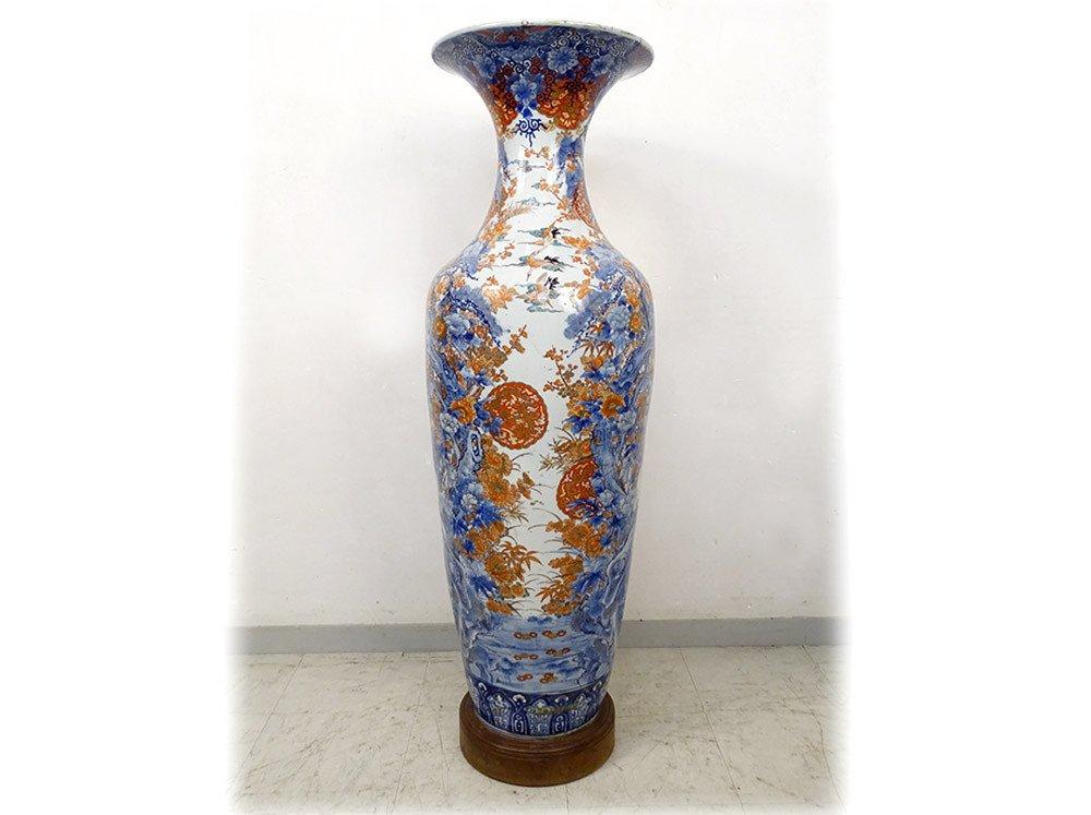 Grand Vase Porcelaine Imari Japon Paysages Hérons étang Fleurs 127cm XIXème