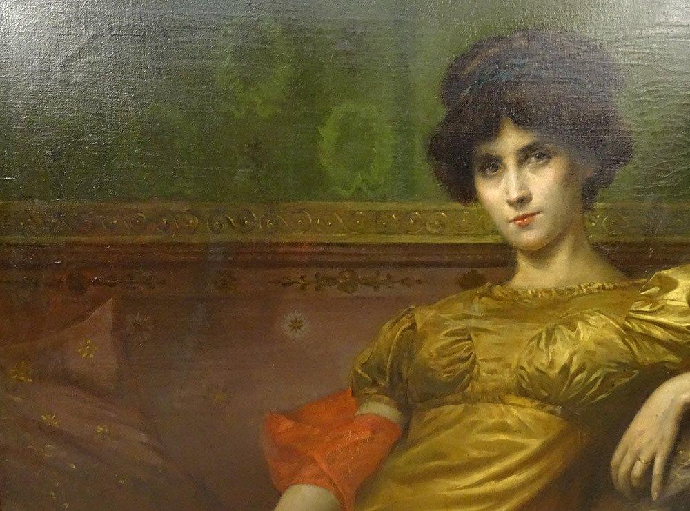 Grande HST Tableau Portrait Femme Empire G. Meyer Cadre Doré 138x121cm XIXè-photo-3