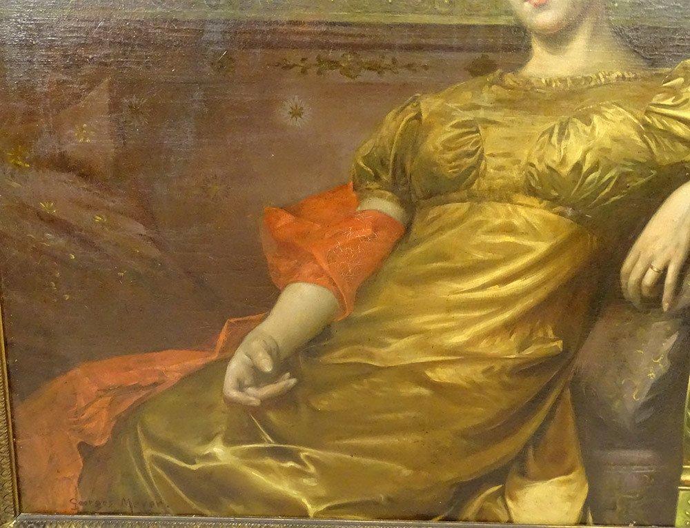Grande HST Tableau Portrait Femme Empire G. Meyer Cadre Doré 138x121cm XIXè-photo-4