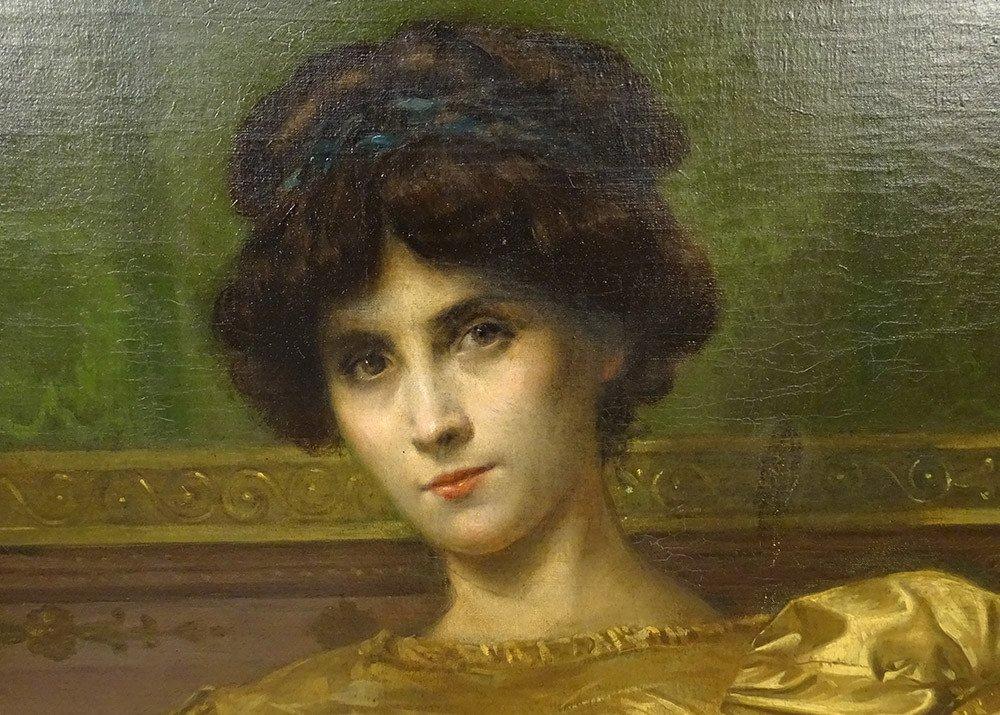 Grande HST Tableau Portrait Femme Empire G. Meyer Cadre Doré 138x121cm XIXè-photo-2