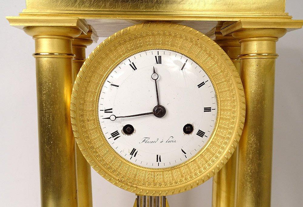 Pendulum Portico Columns Gilt Bronze Flocard Paris Empire Clock XIXth-photo-1