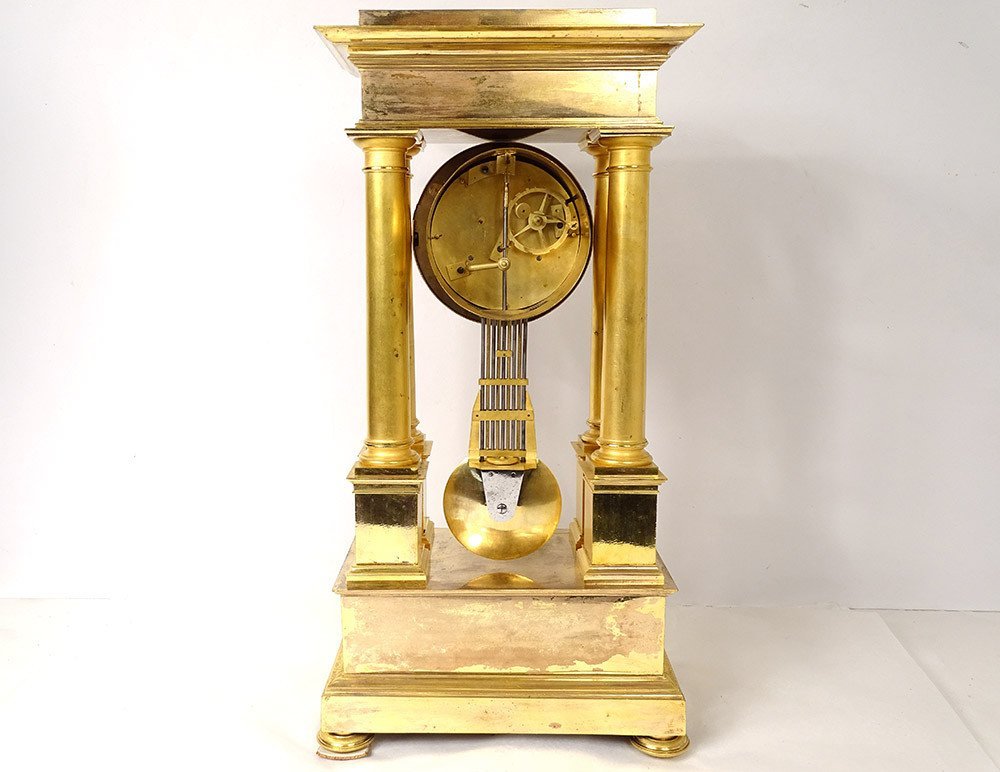 Pendulum Portico Columns Gilt Bronze Flocard Paris Empire Clock XIXth-photo-5