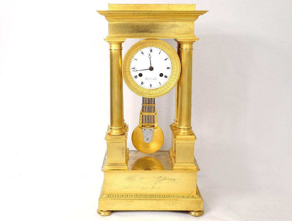 Pendulum Portico Columns Gilt Bronze Flocard Paris Empire Clock XIXth