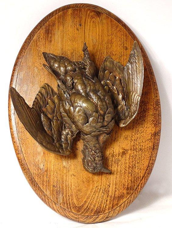 Trophée de Chasse Sculpture Bronze Oiseau Perdrix Médaillon Bois XIXème